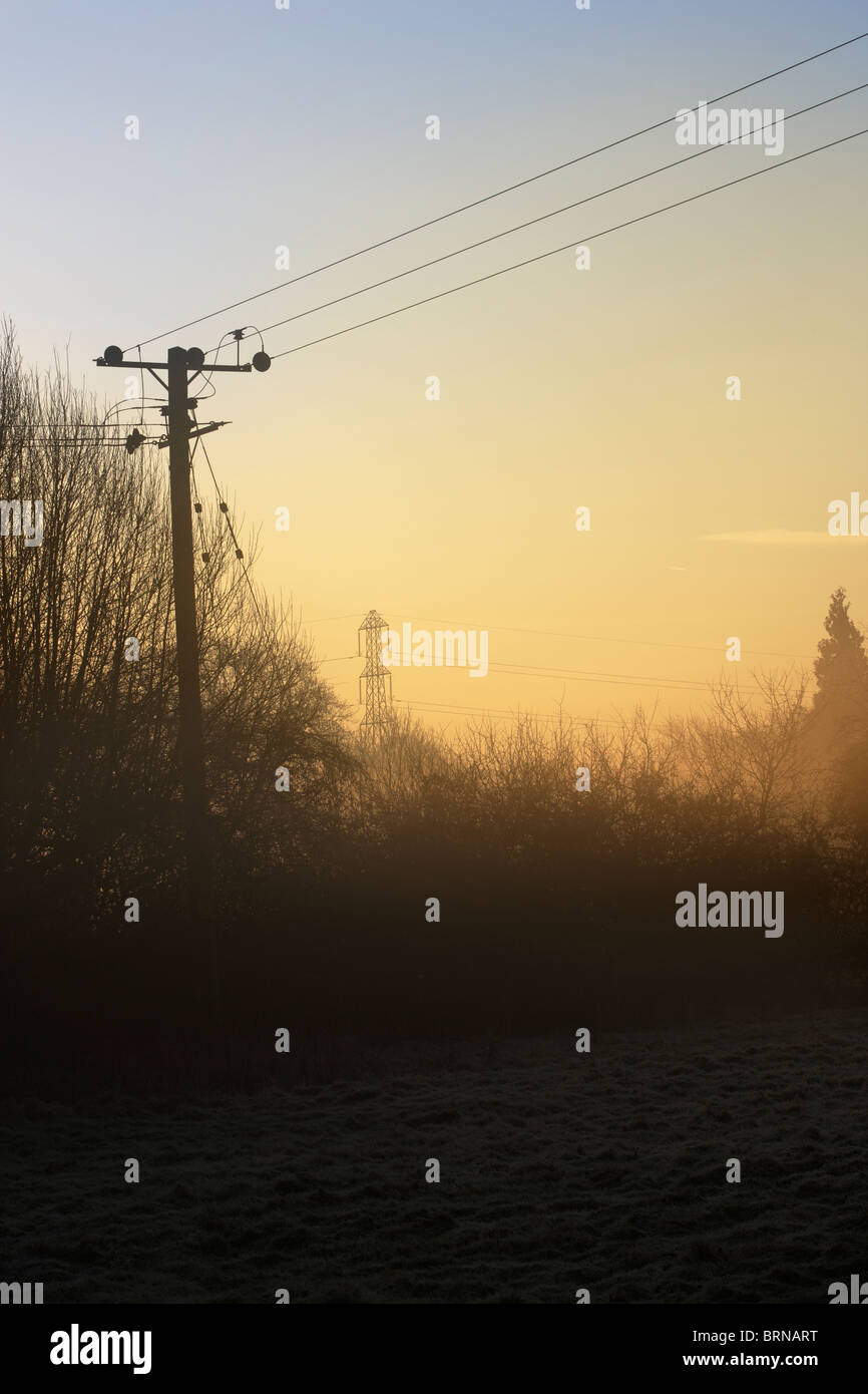 Winters Dawn in January, Sussex , England - Stock Image
