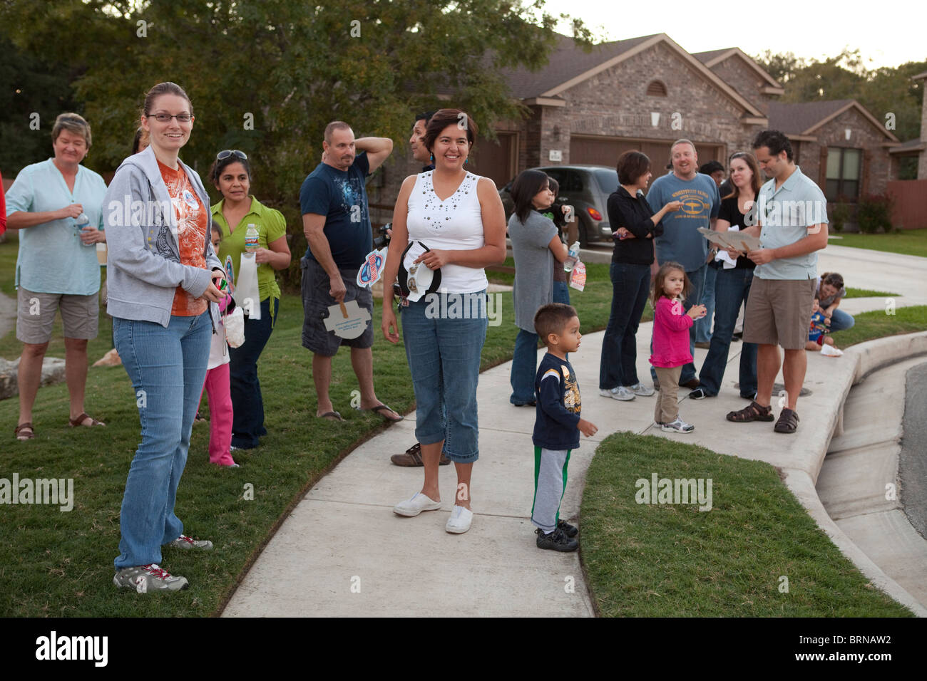 Austin neighbors gather during National Night Out, a national anti-crime effort aimed at keeping neighborhoods vibrant - Stock Image