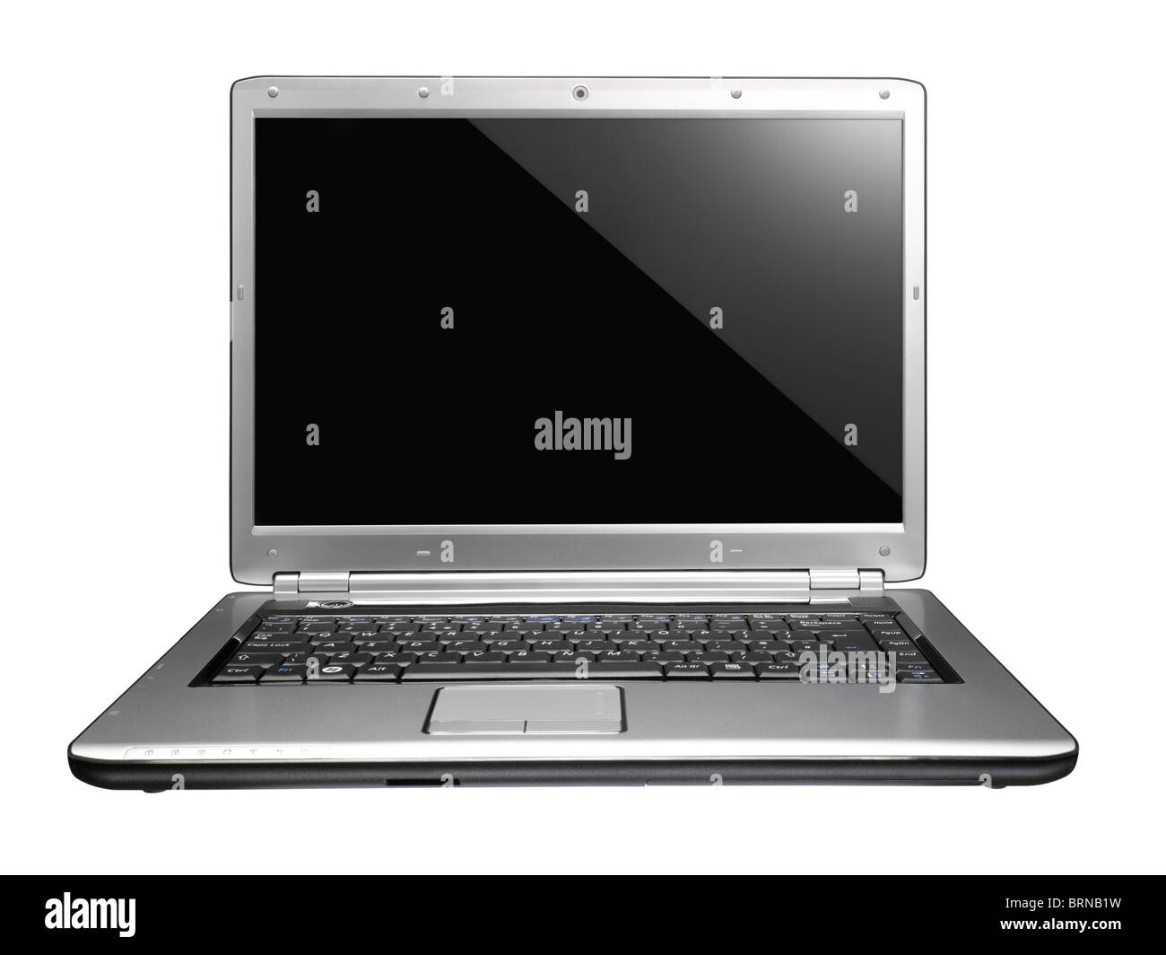 A cut out of an open silver laptop - Stock Image