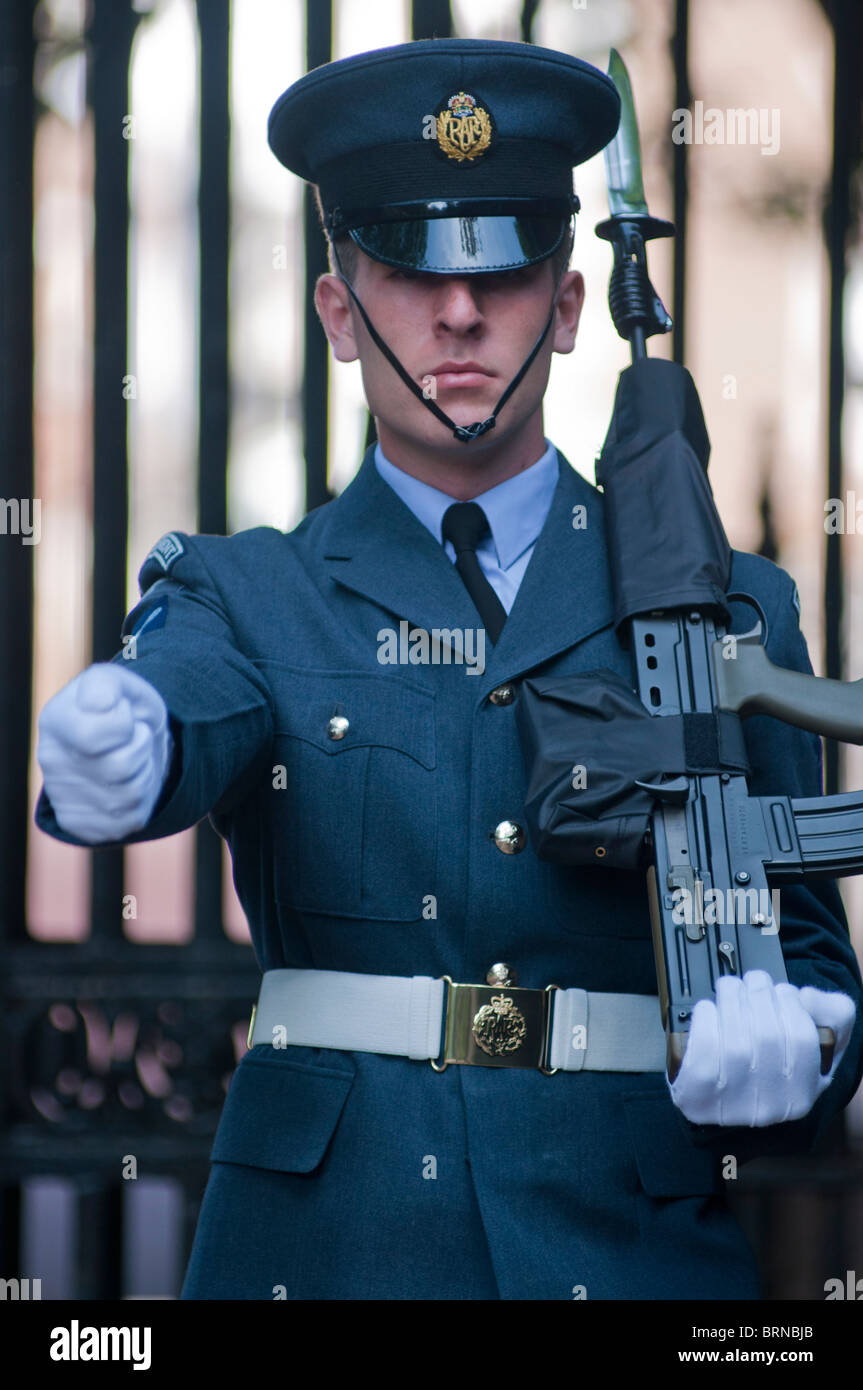 RAF guardsman marching at the Mall in London, UK - Stock Image