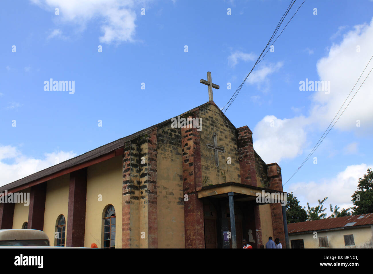 An old church building in a rural community in Ikoro, Ekiti-State, Nigeria, majority of the populace are practicing - Stock Image