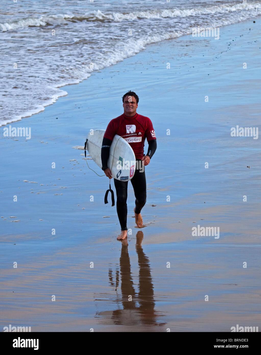 Russell Winter, elite surfer, Fraserburgh, Scotland, UK, Europe - Stock Image