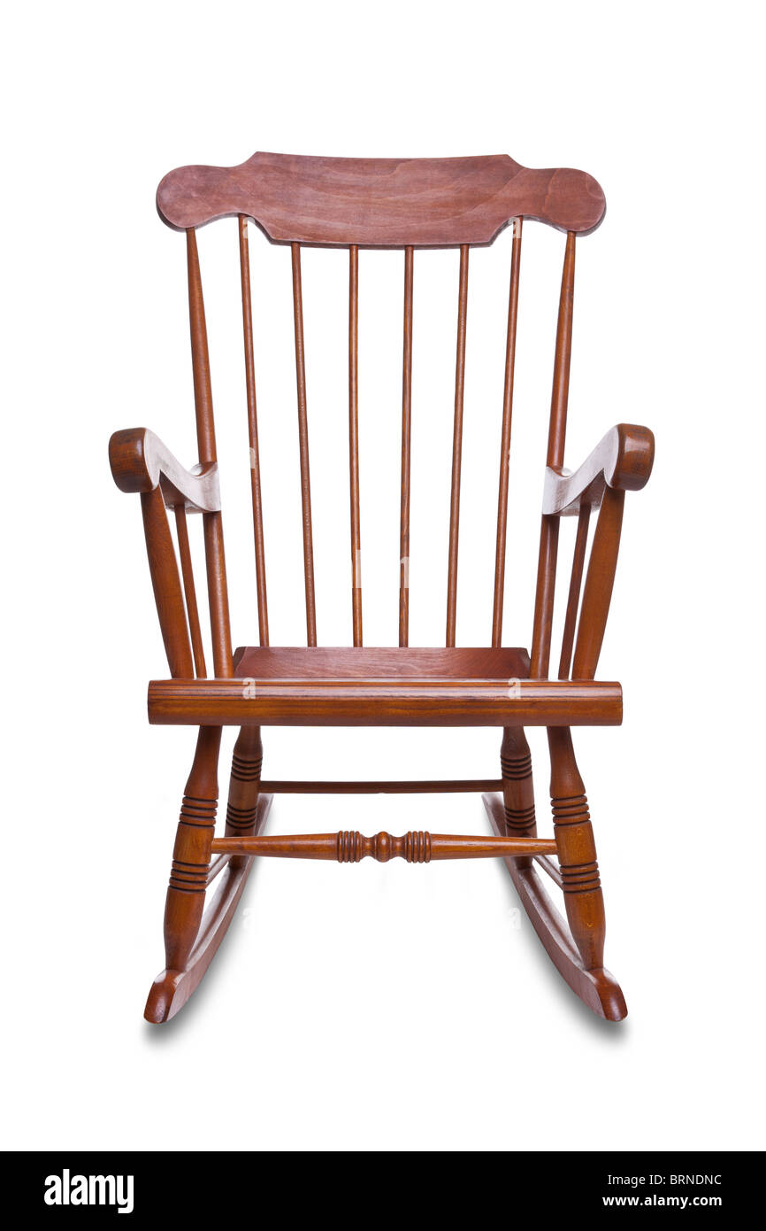 Wooden rocking chair isolated on a white background with slight shadow - Stock Image