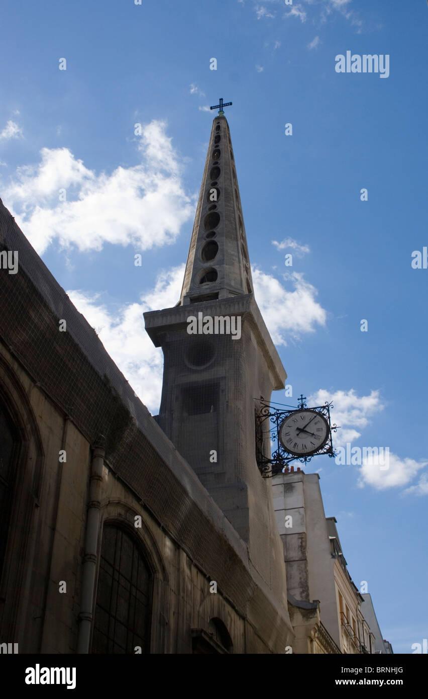 The spire of the church os Saint-Louis-en-lIle, Ile St Louis, Paris - Stock Image