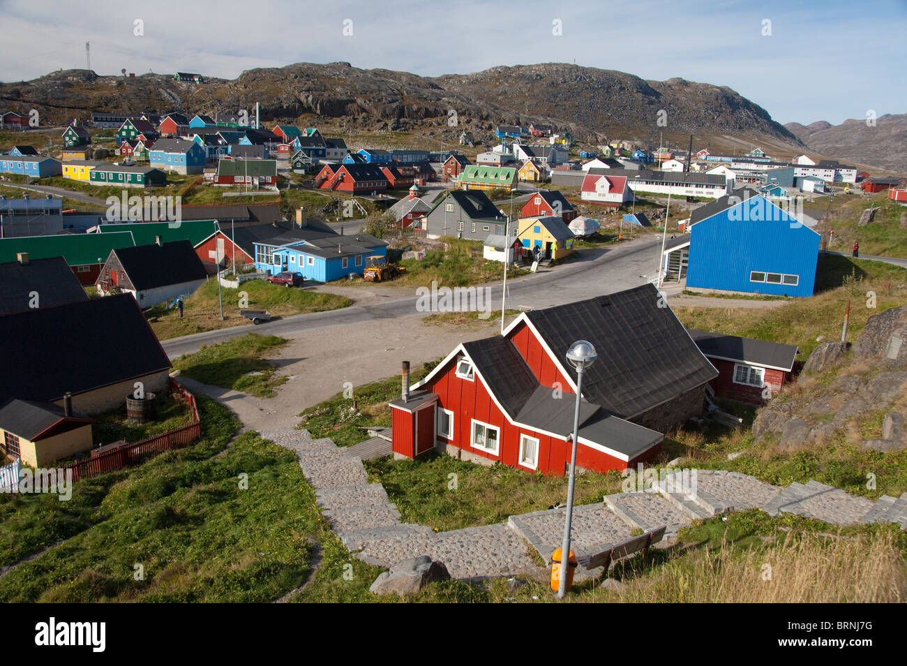 Greenland, Qaqortoq. South Greenland's largest town with almost 3,000 inhabitants. Overview of town with typical - Stock Image