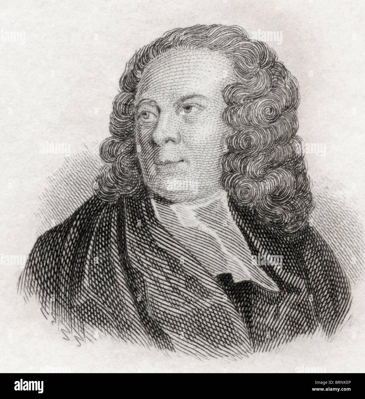 Edward Young, 1681 to 1765. English poet. - Stock Image