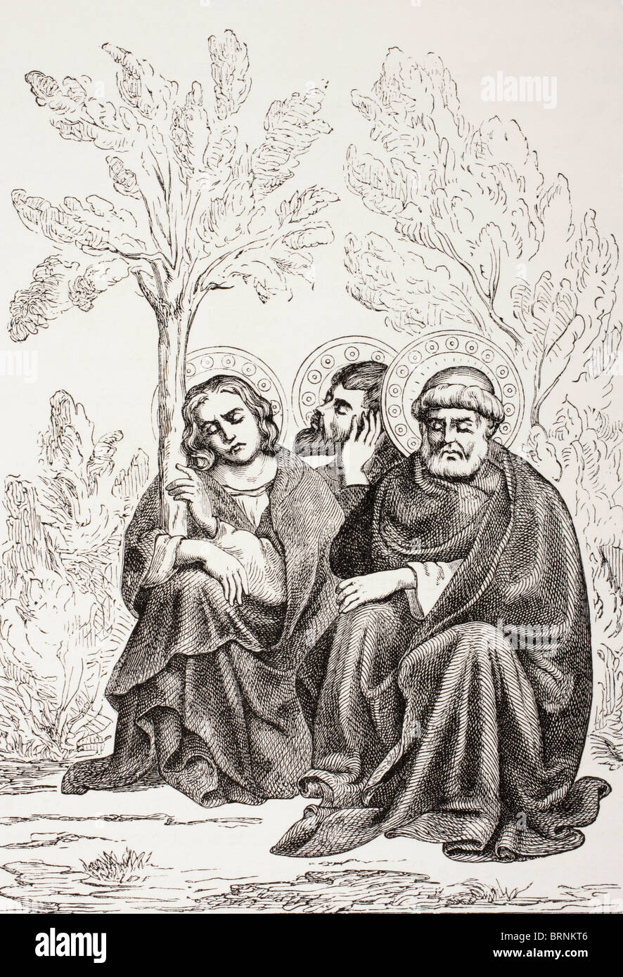 The apostles in the Garden of Gethsemane. - Stock Image