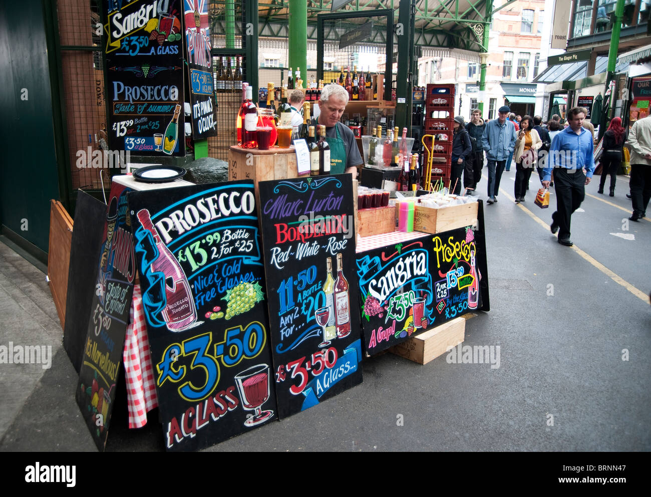 Wine stand, Borough Market, London, UK - Stock Image