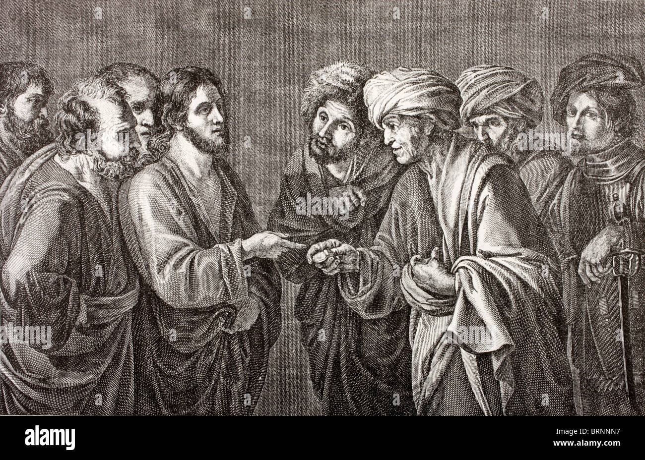 And Jesus answering said unto them, Render to Caesar the things that are Caesar's, and to God the things that - Stock Image