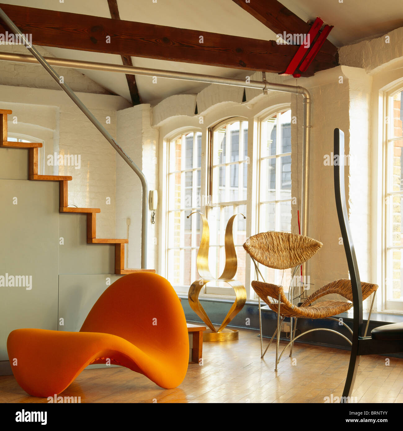Pierre Paulin Chaise And Tom Dixon Chair In Collection Of Modern Designer Chairs Loft Conversion Living Room