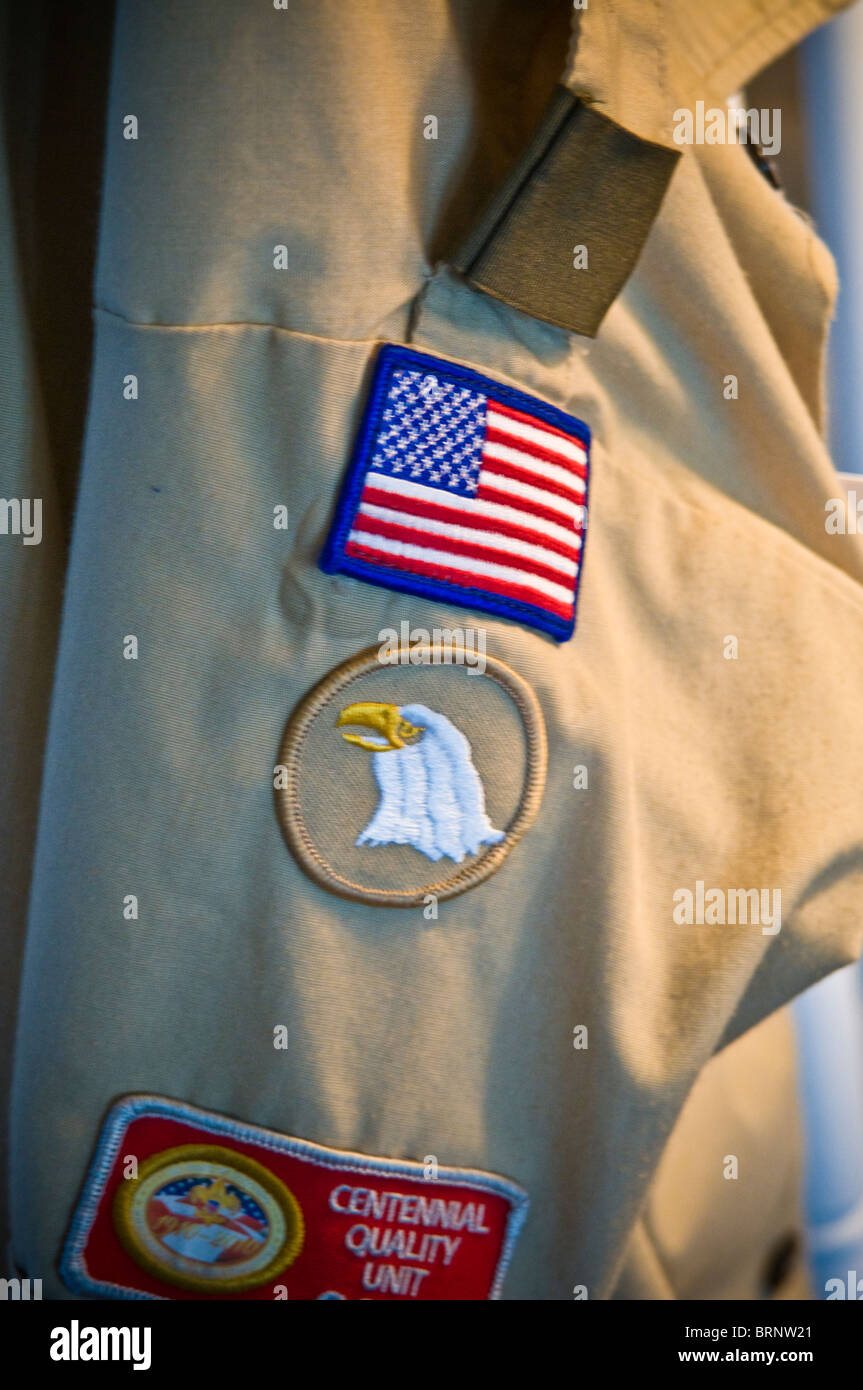 Boy Scout shirt shoulder patches - Stock Image