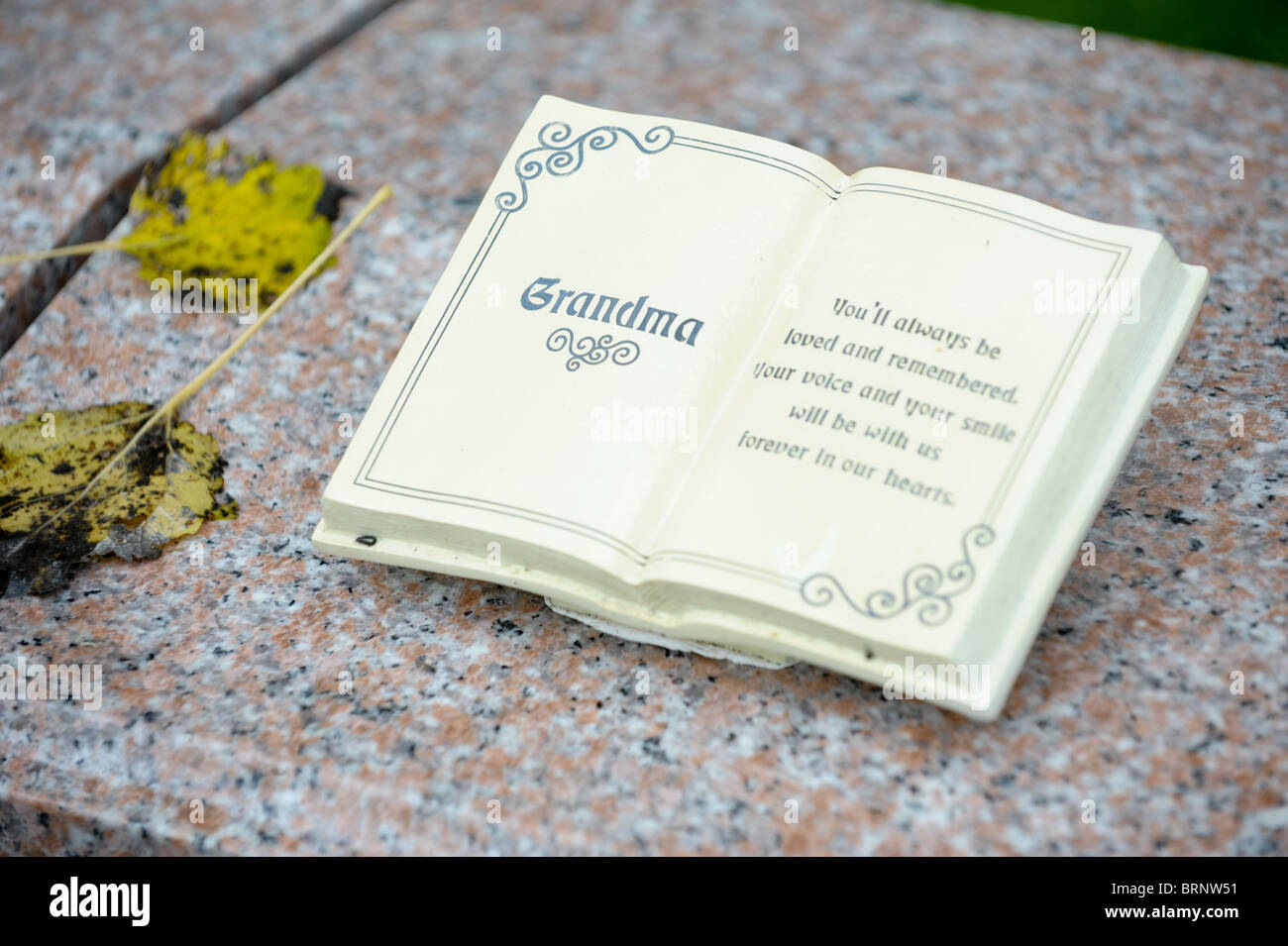 Stone book with the word Grandma on it at a memorial in a cemetary with two autumn leaves on the carved marble - Stock Image