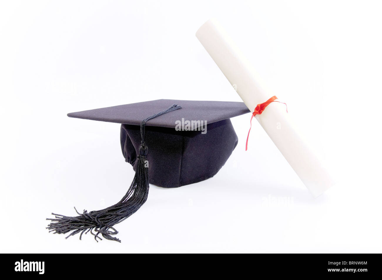 Student hat and diploma - Stock Image