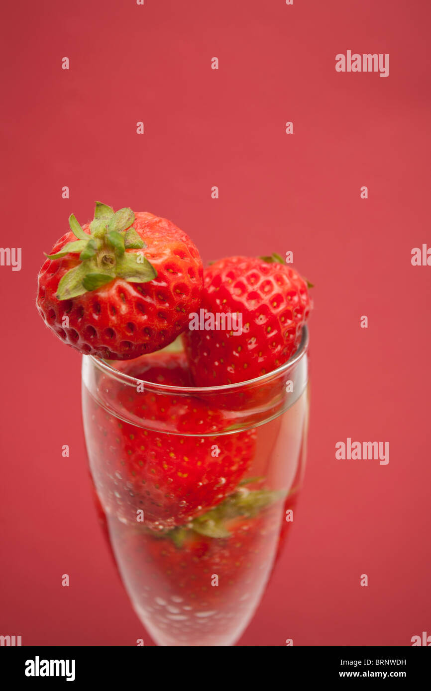 Champagne flute containing champagne and strawberries, close-up - Stock Image