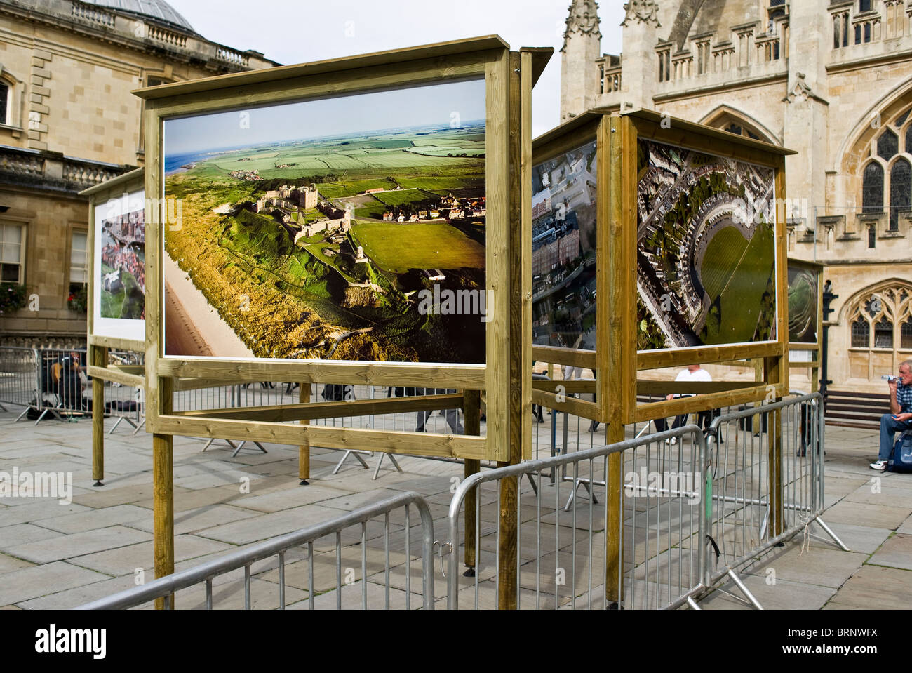 Outdoor exhibition of aerial photography of Great Britain in Bath UK - Stock Image