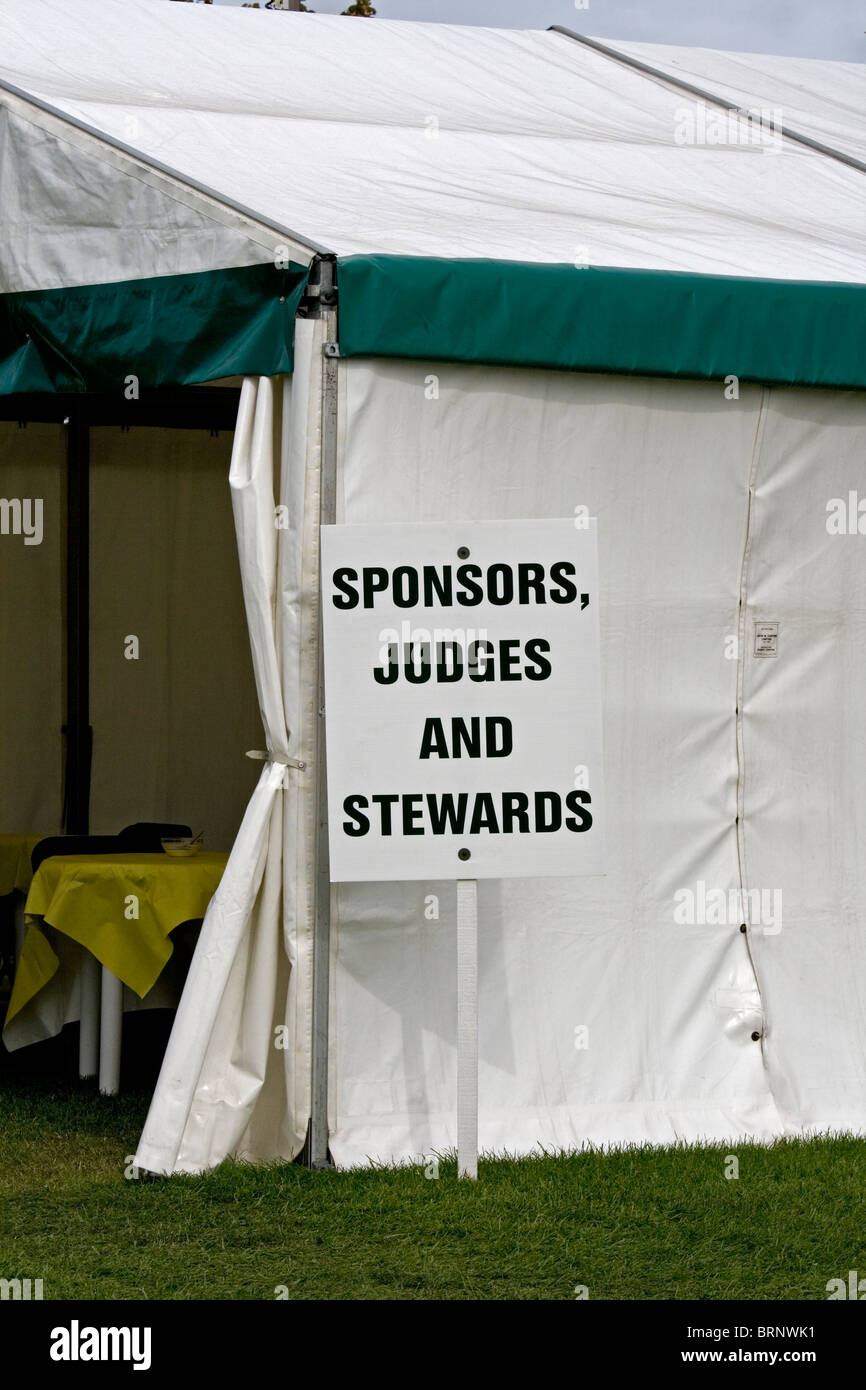 Tent for officials at the Royal Berkshire Agricultural Show near Newbury, England. - Stock Image