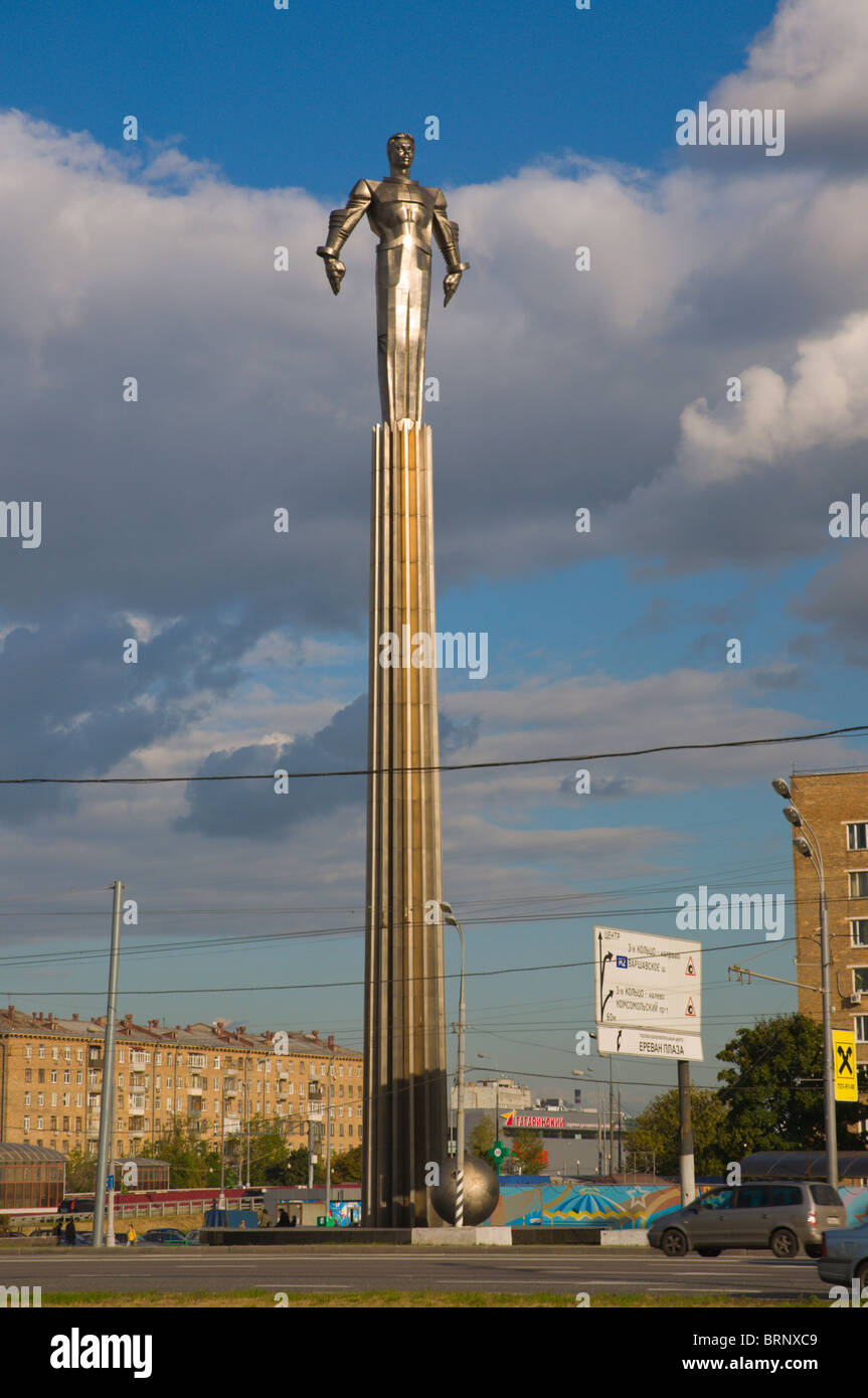 Monument to 1st man in space Yuri Gagarin at Leninsky Prospekt street Moscow Russia Europe - Stock Image