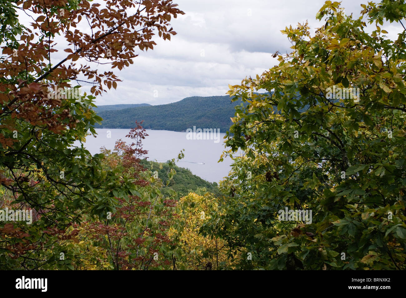Fall foliage over Lake George, NY. - Stock Image