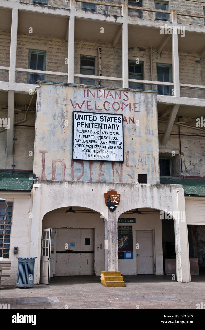 Arrival area of the prison island Alcatraz, San Francisco, California, USA - Stock Image