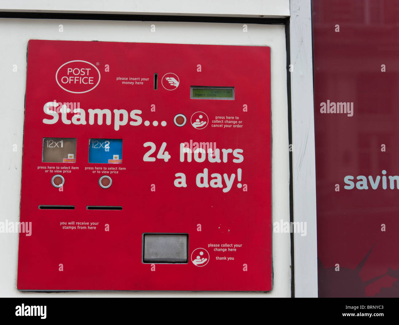 UK stamp machine, outside a London post office, selling 1st and 2nd  class stamps - Stock Image