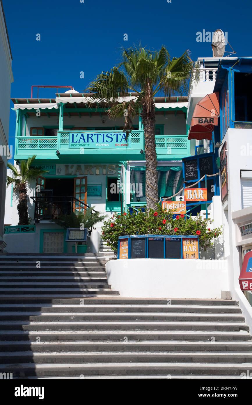 Italian Restaurant And Bar Playa Blanca Old Town Lanzarote Stock