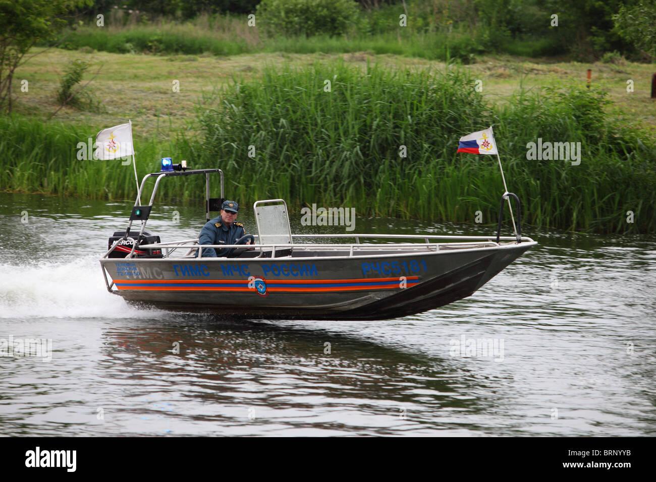 Russia, Emergencies motorboat - Stock Image