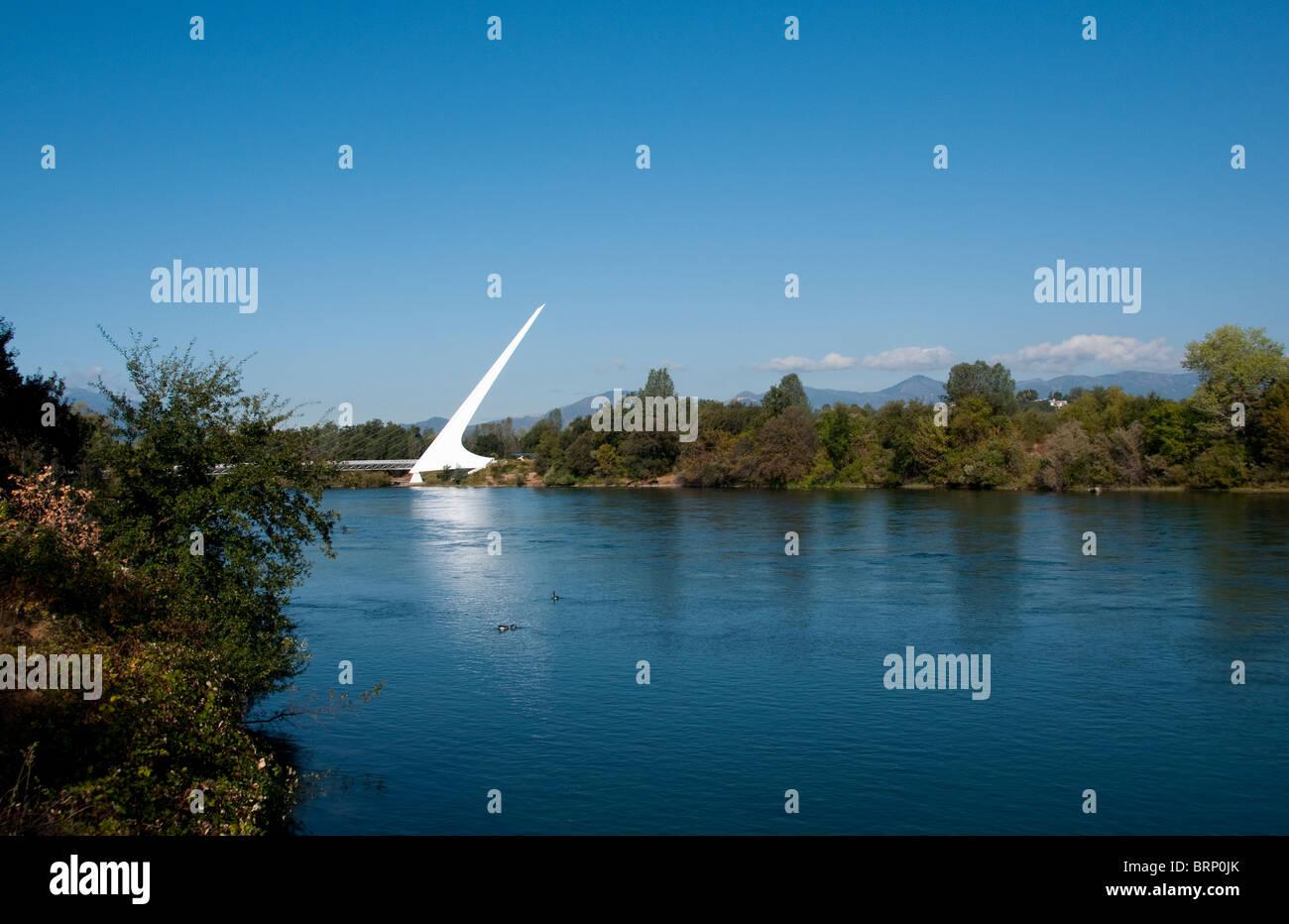 Sundial Bridge on Sacramento River in Redding California by architect Santiago Calatrava - Stock Image