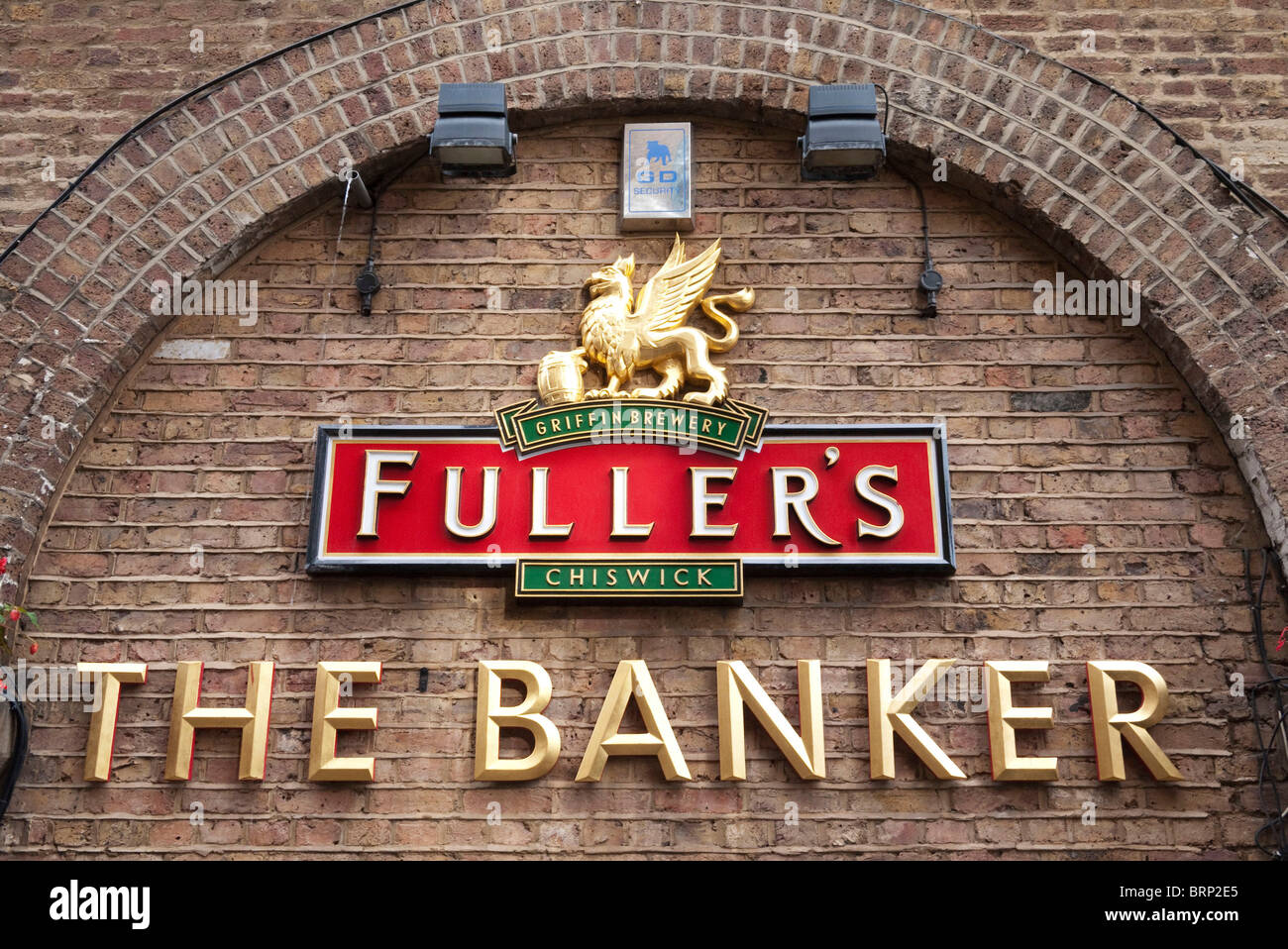 Sign outside The Banker pub. A Fullers Brewery pub. - Stock Image