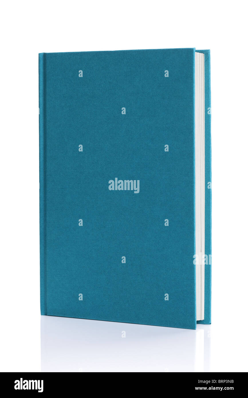 Isolated blank blue hardback book - Stock Image
