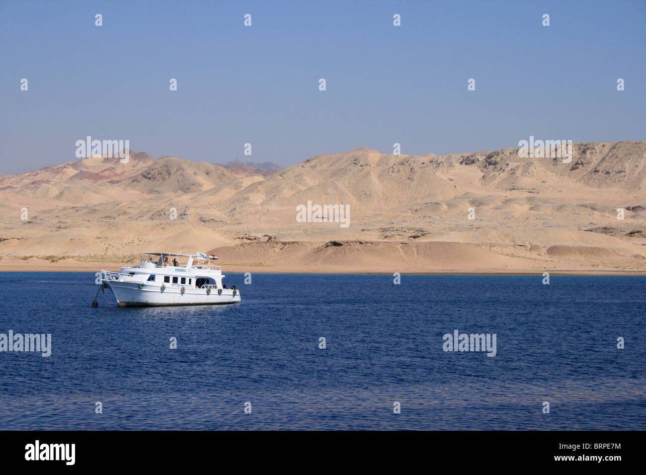 A diving boat anchored in Ras Mohammed National Marine Park near Sharm el Sheikh - Stock Image