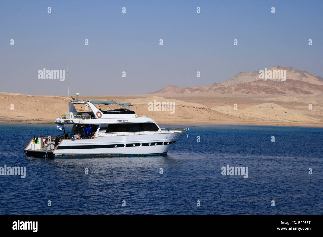 A diving boat anchored in Ras Mohammed National Marine Park near Sharm el Sheikh, Egypt - Stock Image