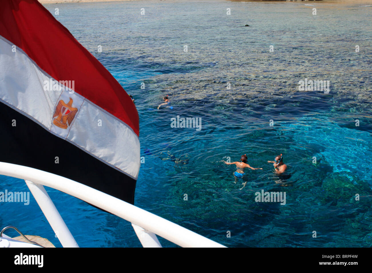 Day trippers snorkeling in Ras Mohammed National Marine Park near Sharm El Sheikh, Egypt - Stock Image