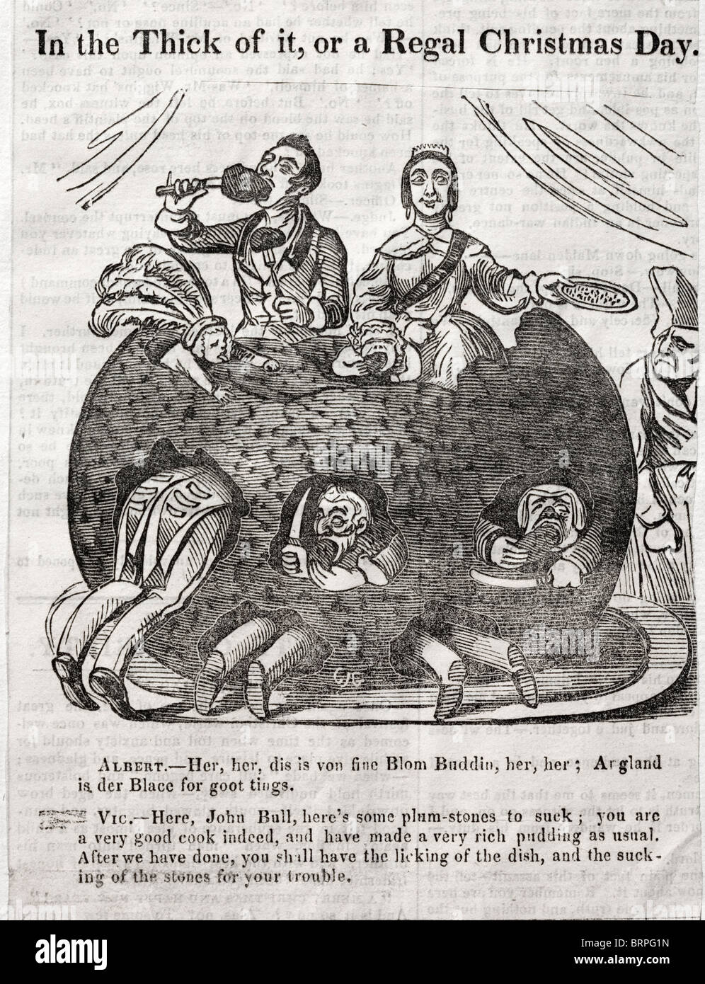 Victorian newspaper cartoon 'In the Thick of it, or a Regal Christmas Day'. Queen Victoria and Prince Albert - Stock Image