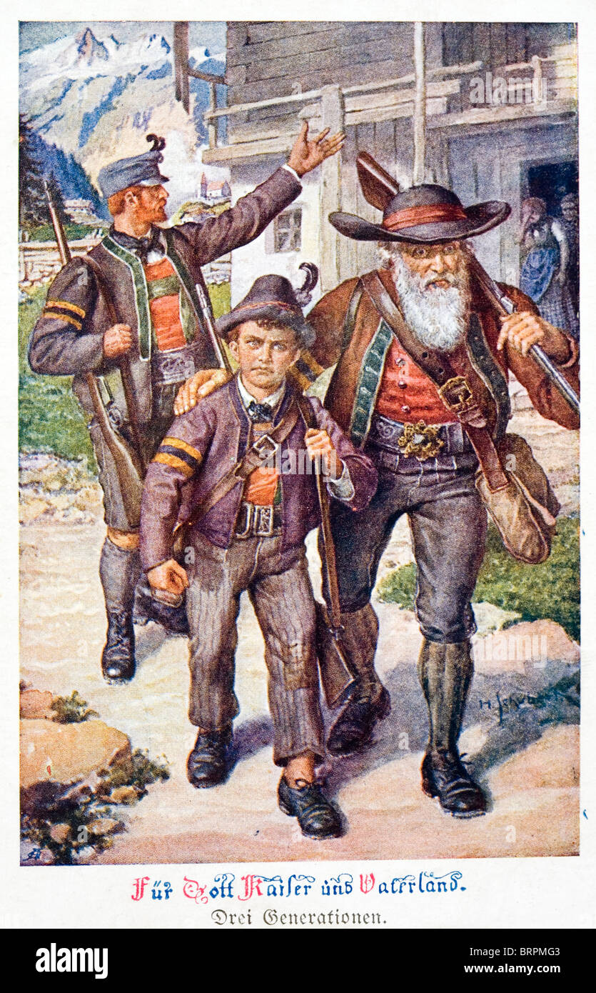 'For God, the Kaiser and the Fatherland.' Three generations of the same Austrian family set off for the - Stock Image
