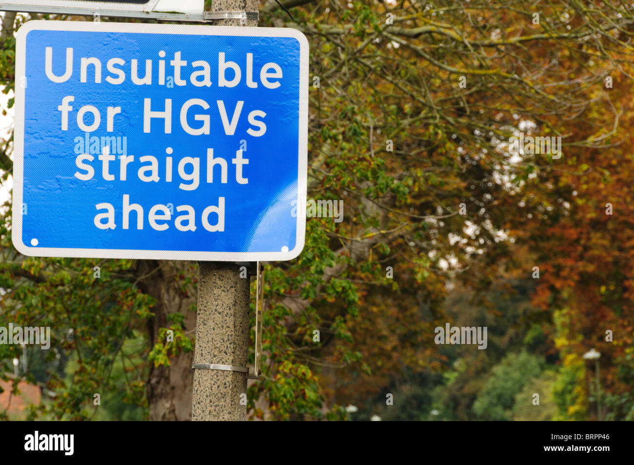 An English road sign warning that the road ahead is unsuitable for Heavy Goods Vehicles - Stock Image