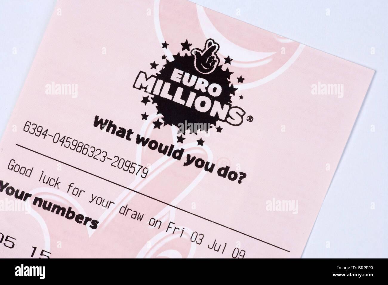 Euro Millions lottery ticket - Stock Image