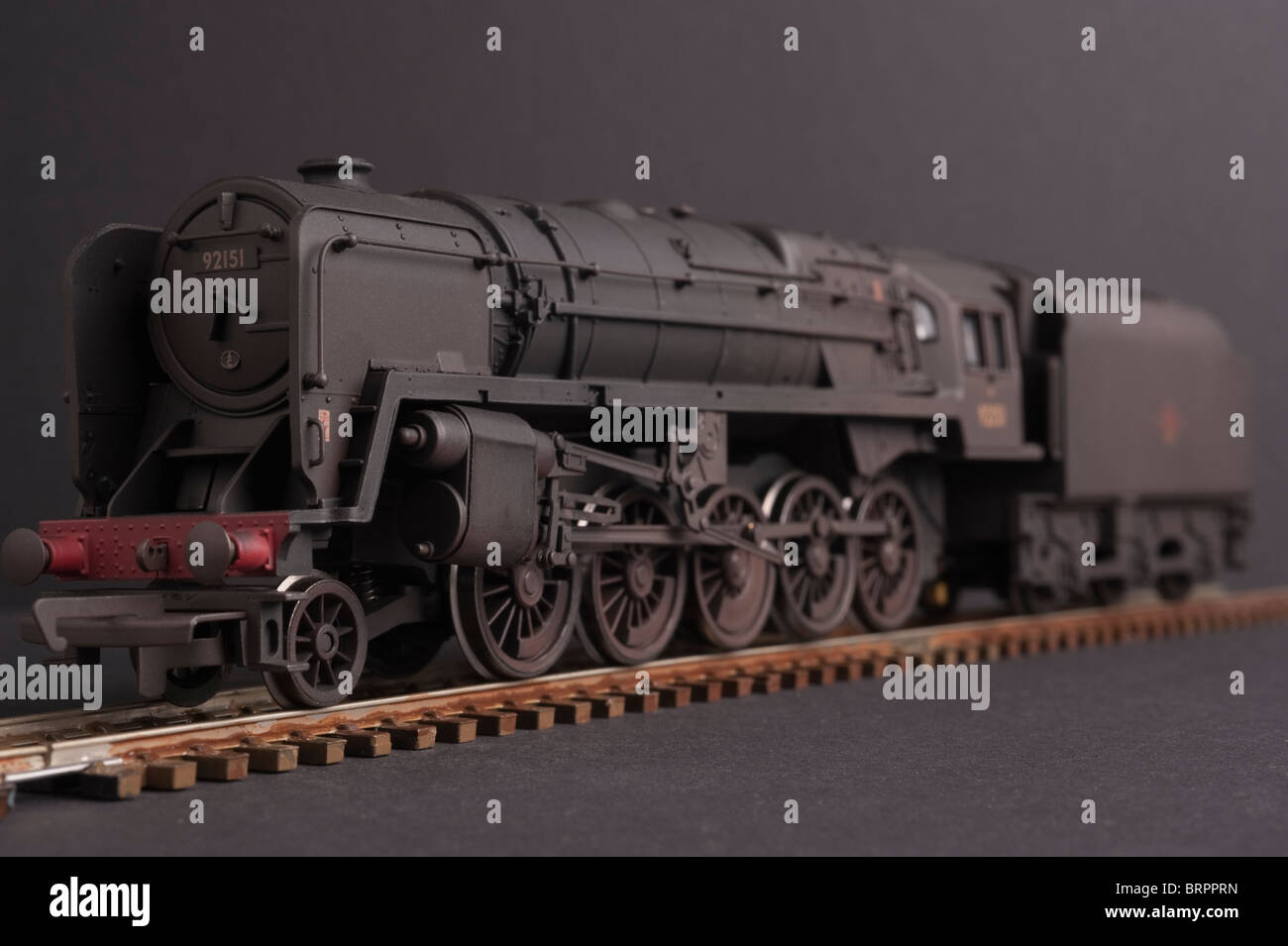 Class 9F Locomotive, BR, Weathered, front view - Stock Image