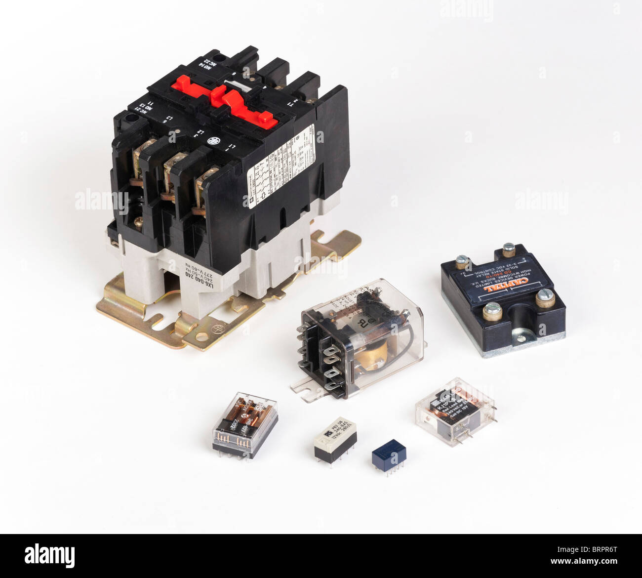 various electrical relays - Stock Image