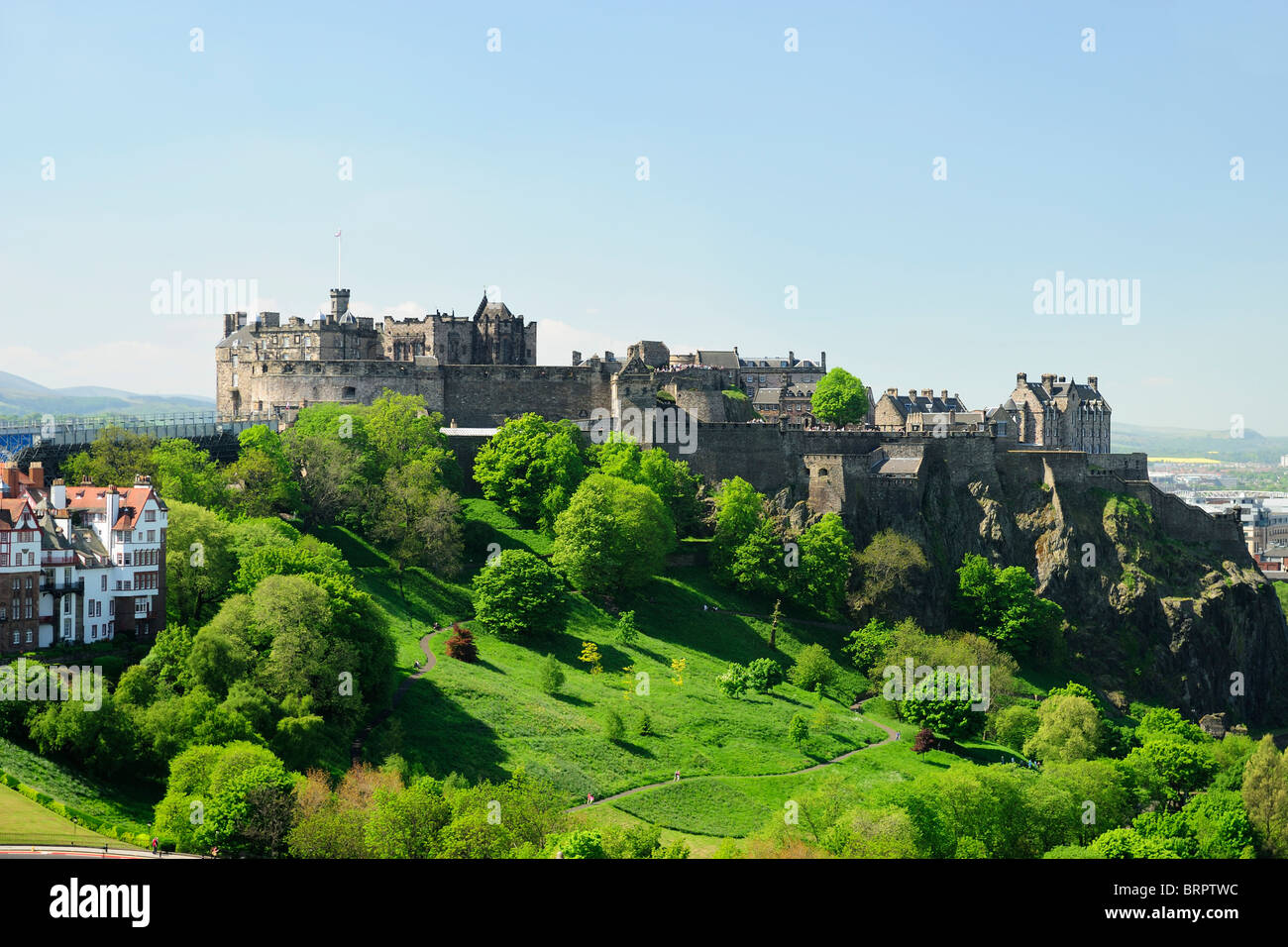 Edinburgh Castle and The Mound from the Scott Monument in Princes Street Gardens, Edinburgh, Scotland - Stock Image