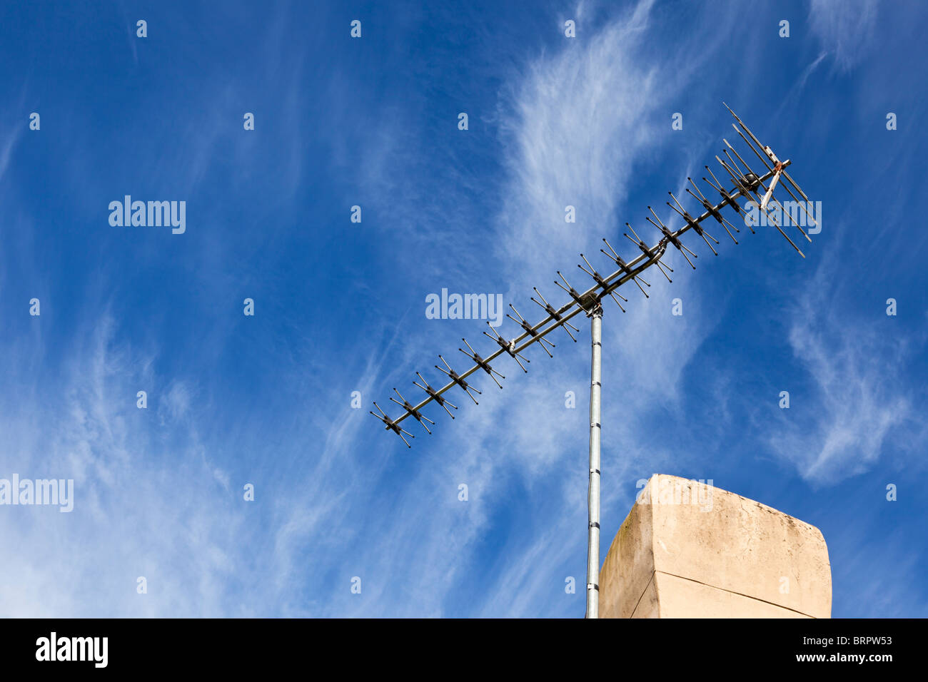High gain TV aerial on chimney stack UK - Stock Image
