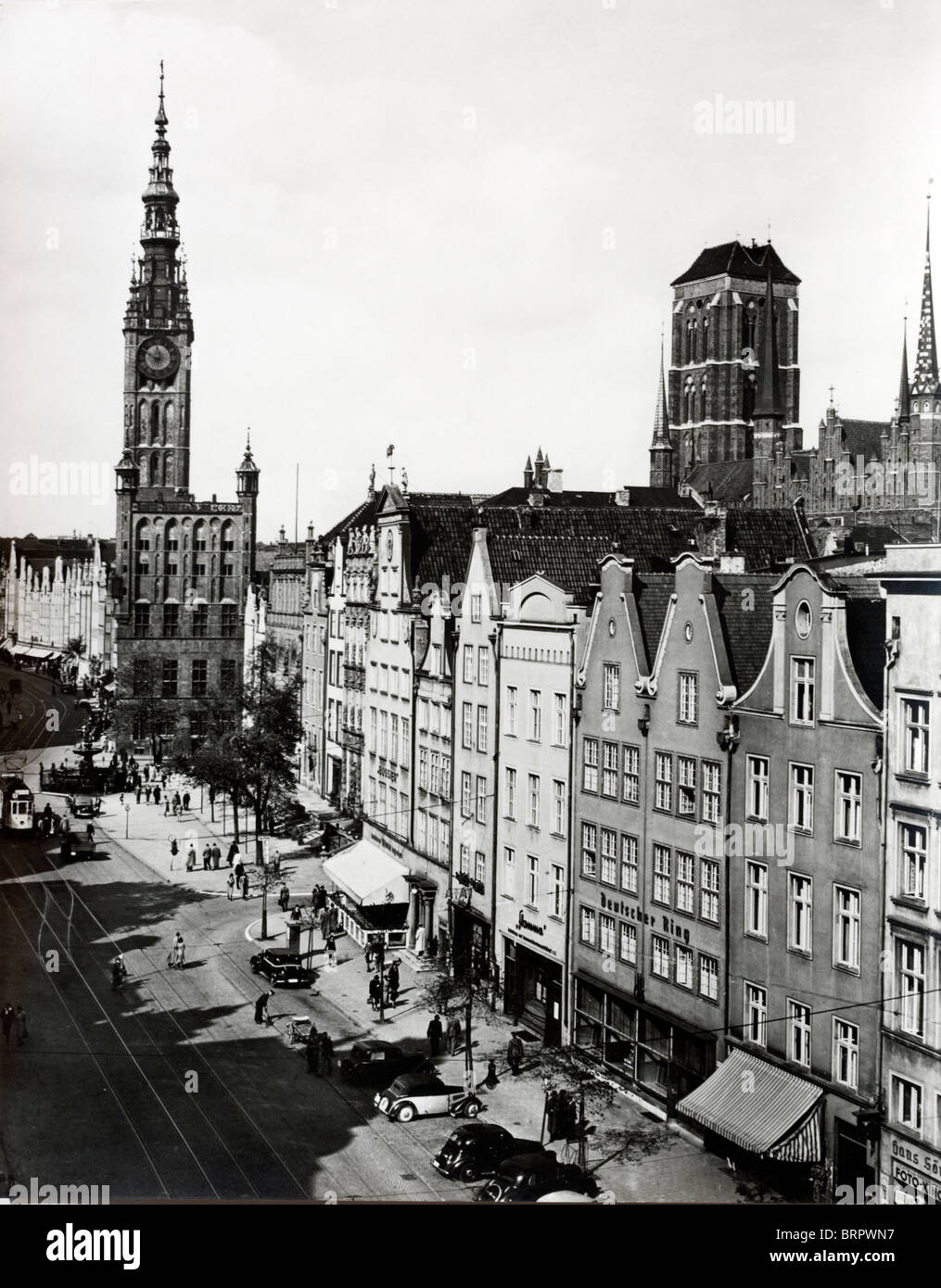 The centre of the German speaking city of Danzig in the mid 1930s. - Stock Image