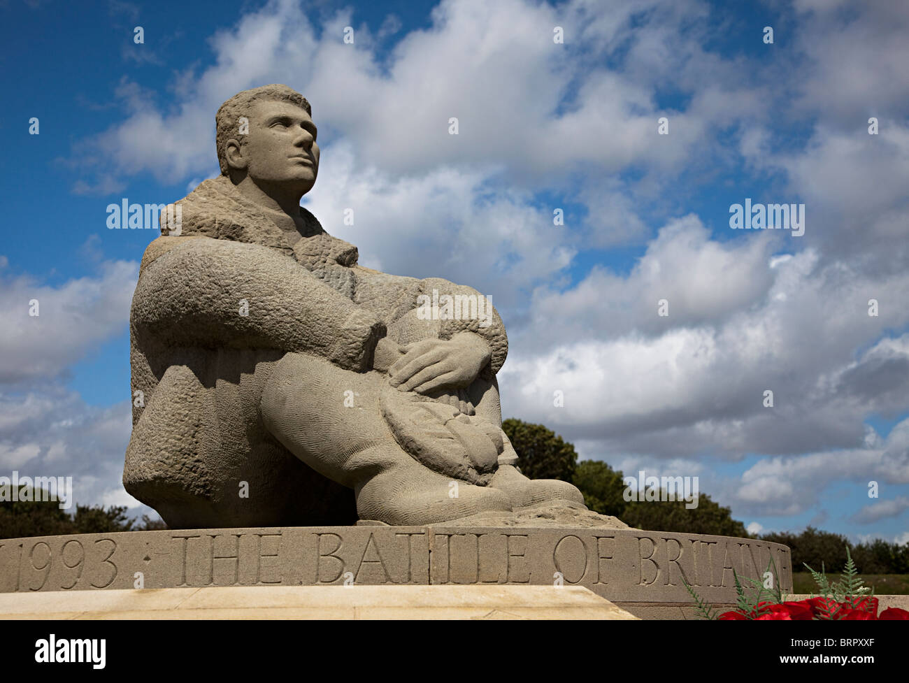 Statue of young airman at The Battle of Britain Memorial Capel-le-Ferne Dover England UK - Stock Image