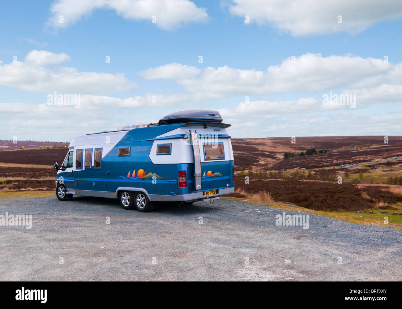 Large camper van parked overlooking the North Yorkshire Moors England UK - Stock Image