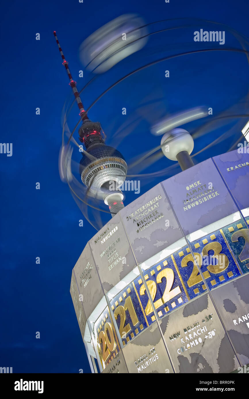 Alexanderplatz world clock and television tower at night, berlin, germany - Stock Image