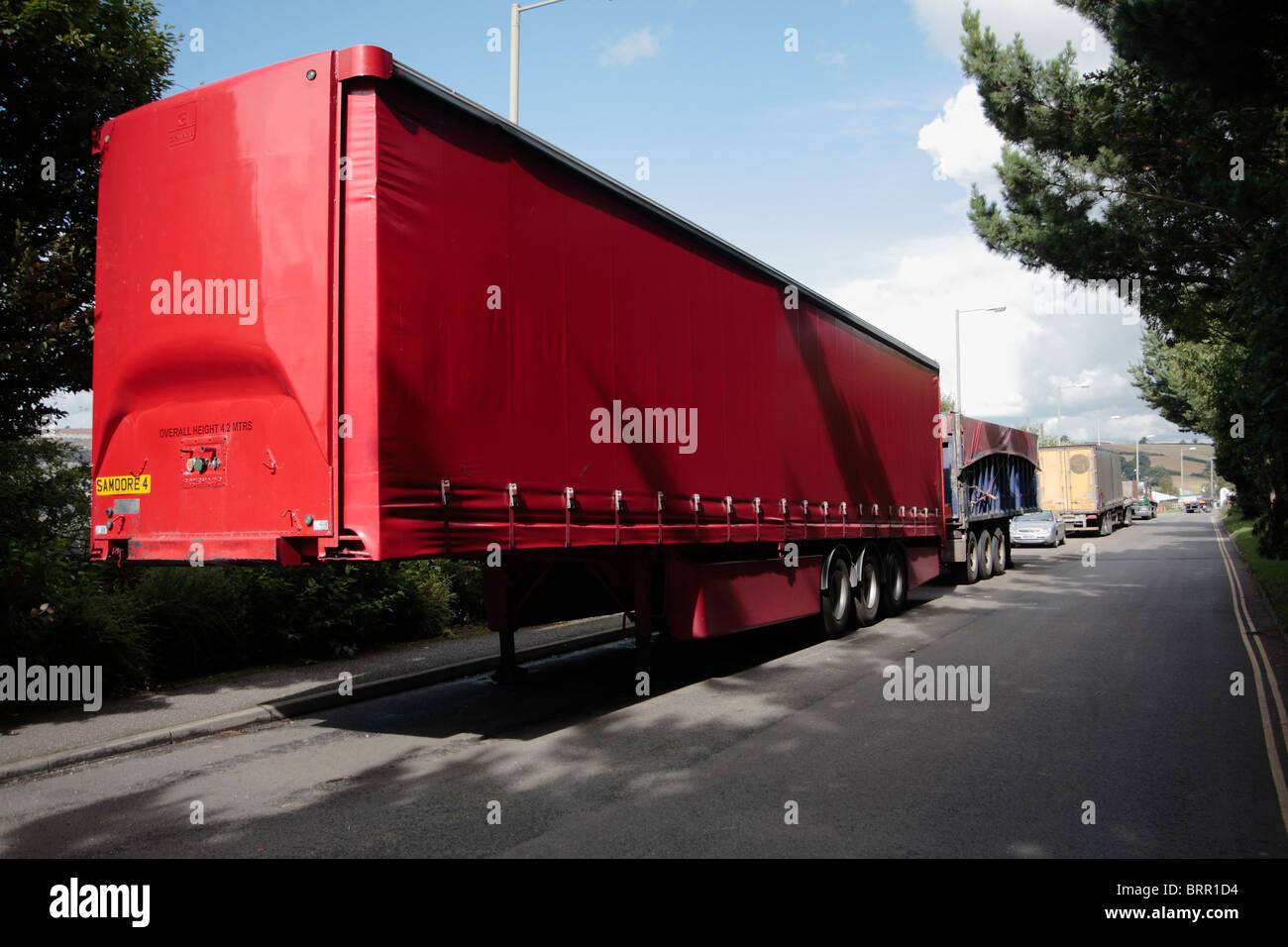 HGV trailer units parked in industrial estate Crediton Devon UK - Stock Image