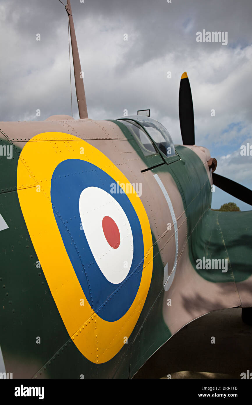 RAF roundel on replica Spitfire at The Battle of Britain Memorial Capel-le-Ferne Dover England UK - Stock Image