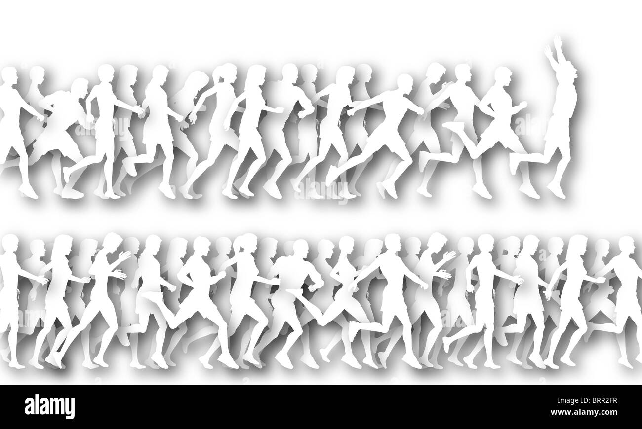 illustrated foregrounds of people running as white cutouts stock