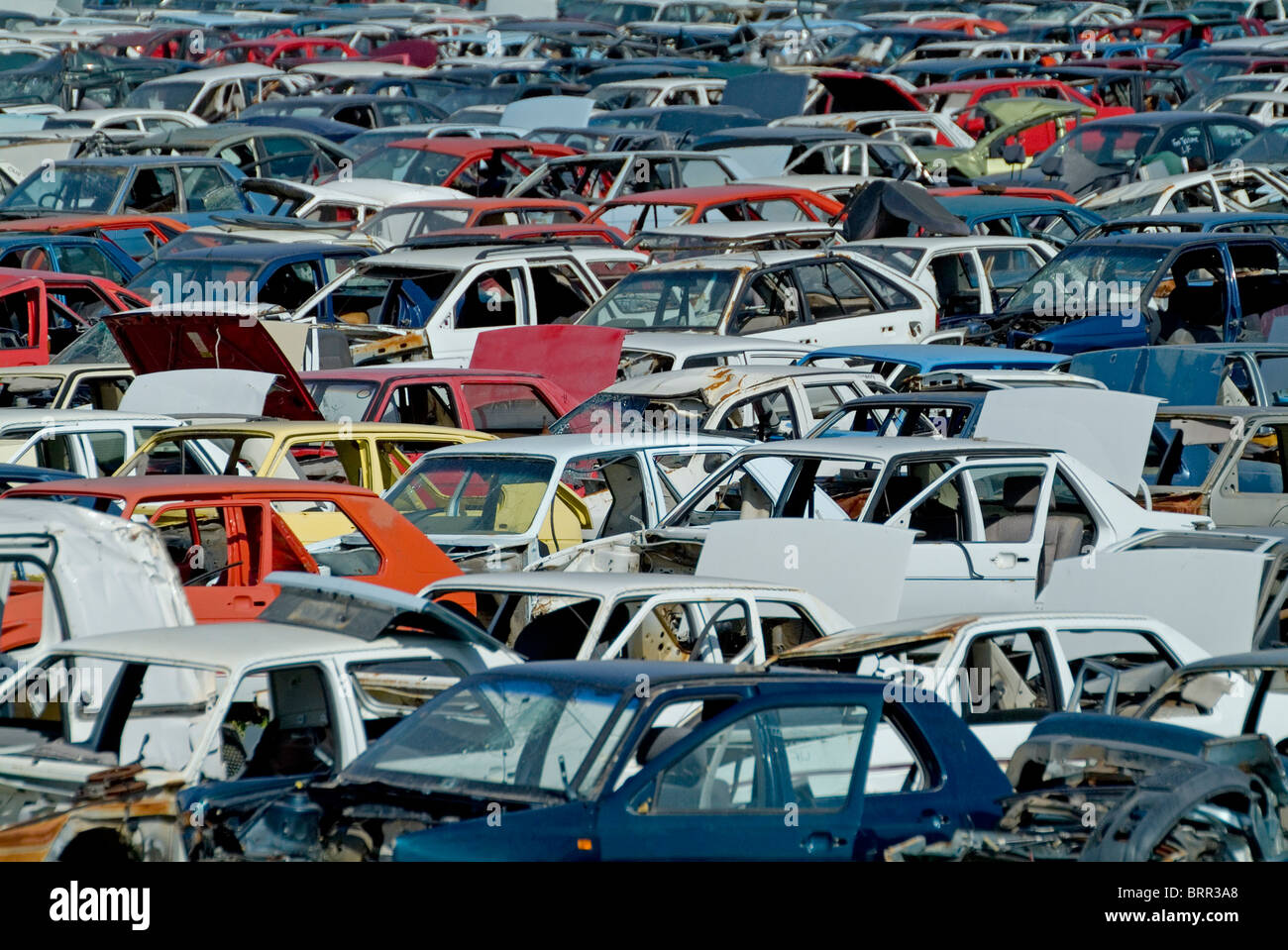 A scrap yard for motor vehicles - Stock Image