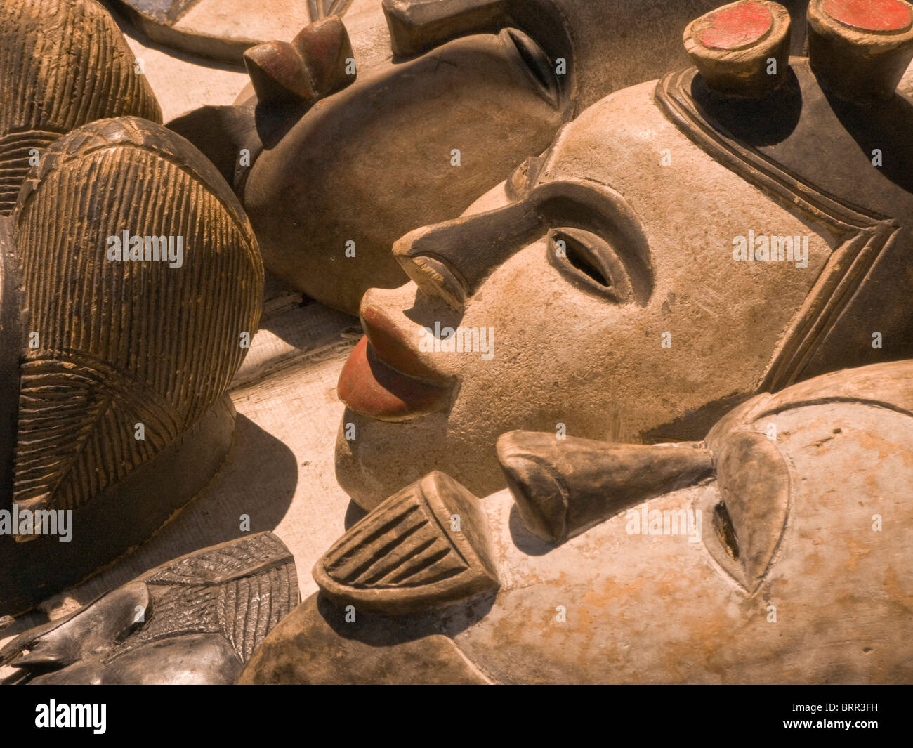 African hand-crafted masks - Stock Image