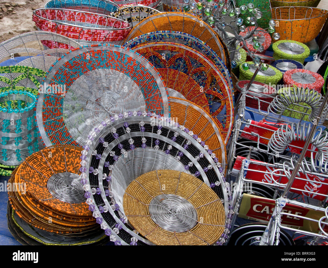Bead and wire craft for sale at a flea market - Stock Image